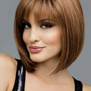 Details About Wigs With Bangs For Woman Short Bob Straight Women Chestnut Blonde Black Girls
