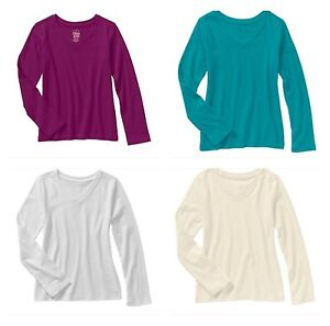 d2f5c927f Faded Glory Girls' Long Sleeve V Neck Crew Neck T Shirt Top Blouse ...