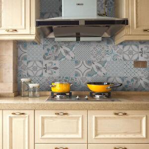 Dettagli su 12 Pz Set Adesivi Piastrelle Impermeabili Decorazione Parete  Bagno Cucina
