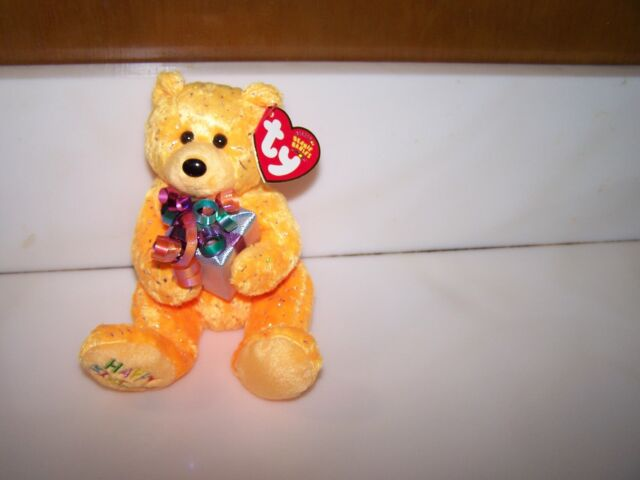 Ty Beanie Babies Happy Birthday The Orange Bear with PresentGift