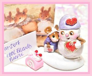 ❤️Wee Forest Folk M-287 Cool Friends Purple Snowman Valentine Heart Mouse WFF❤️