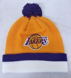 f6ecba091bd LOS ANGELES LAKERS NBA BEANIE W POM HAT SKULLY CAP NWT OSFM by ...