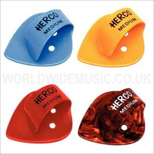 Pack of 4 Picks with a choice of 4 gauges Jim Dunlop Herco Flat Thumb Picks