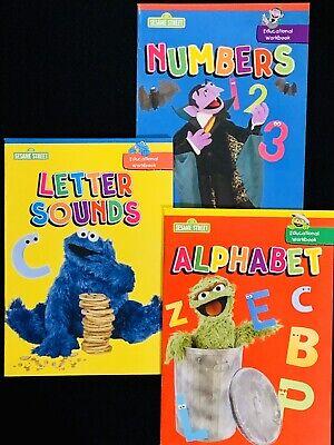 LETTER NUMBERS 3  SESAME STREET ALPHABET,COLORS WORKBOOKS Set-4 NEW! SOUNDS