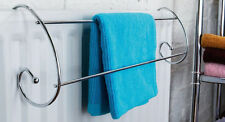 Twin Rail Indoor Radiator Towel Airer Dryer Rack Chrome Utility Stand Set Of 2