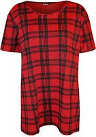 New Plus Size Womens Tartan Check Print Short Sleeve Ladies T-Shirt Top 14 - 28