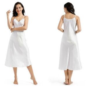 Women Faux Silk Satin Full Slip Dress Loose Midi V Neck Strap Sleepwear Nightie