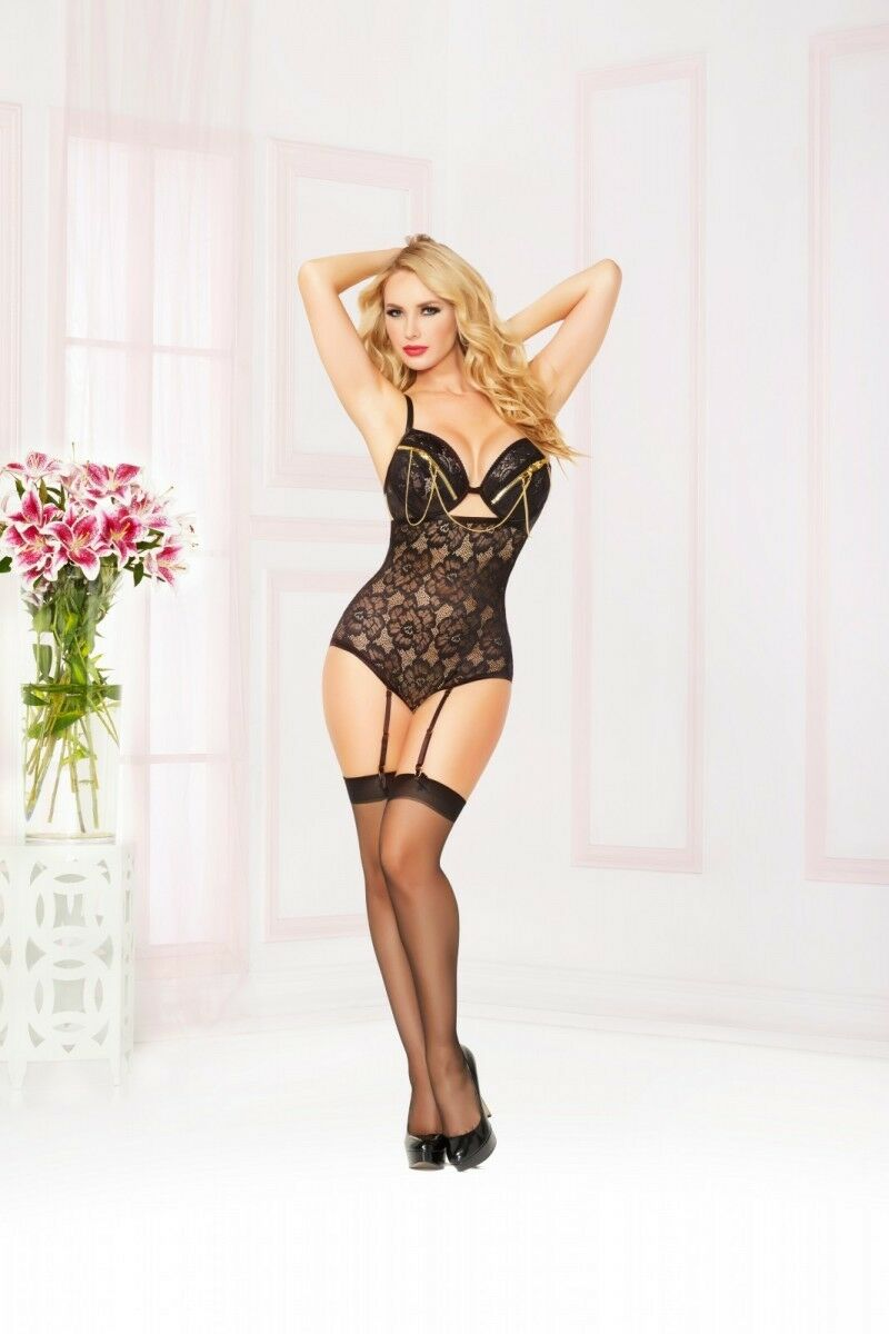 SEVEN TIL MIDNIGHT   Lace & Zipper Teddy Plus Sizes Available