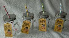 4 x Glass Mason Retro Drinking Jam Jars With Lid & Straws For Cocktails BBQ etc
