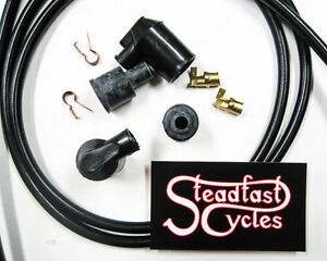 BLACK 7MM COPPER MOTORCYCLE NORTON MATCHLESS TRIUMPH BSA AJS IGNITION LEAD KIT