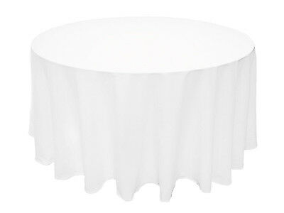 """10 Pack 120"""" Round Polyester Tablecloths Wedding Banquet Party - 3 Colors!"""