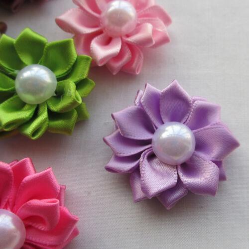 Lotes de Cinta de Raso Flores Arcos Con Apliques De Peal Rosa 35mm 20 un.