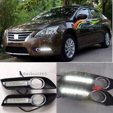 2x White 6-LED Daytime Running Light Fog Cover For 2013-15 Nissan Sentra Pulsar