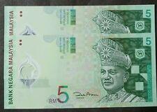 MALAYSIA RM5 POLYMER BANK NOTE ZETI 5 PCS - UNC