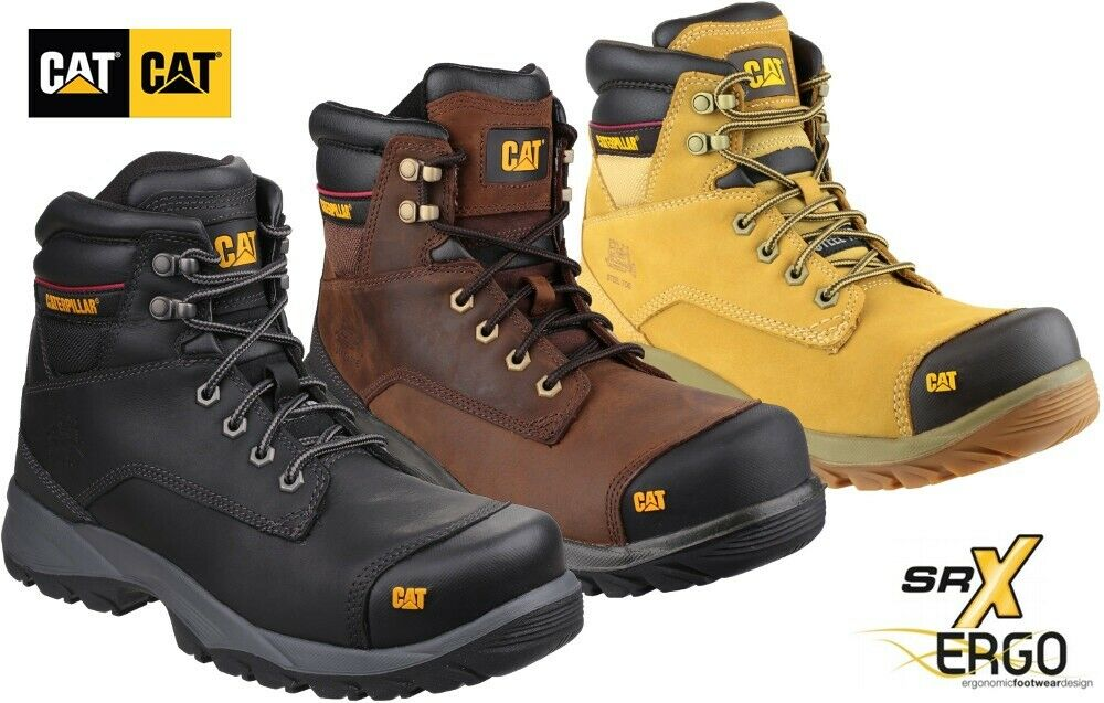 MEN CATERPILLAR SAFETY WORK BOOTS LEATHER DURABLE TRAINERS SHOES STEEL TOE CAP