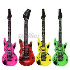 4 x Neon Inflatable Blow Up Guitars Fancy Dress Party Prop Musical Disco Rock
