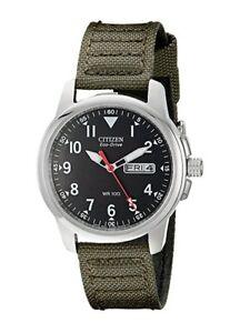 BRAND-NEW-Citizen-Men-039-s-Eco-Drive-Green-Canvas-Strap-Steel-Watch-BM8180-03E