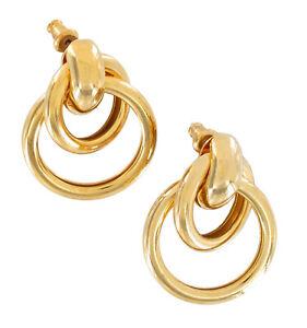 """Pierced Earrings Gold Tone Interlocking Ring Door Knocker Lightweight 1 1/4"""""""