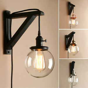 Details About Retro Globe Plug In Wall Lamp Antique Loft Bar Ceiling Pendant Light