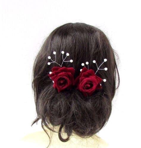 2 x Weinrot Elfenbein Schleierkraut Perle Rose Blumenrebe Haarnadeln Silber 2823