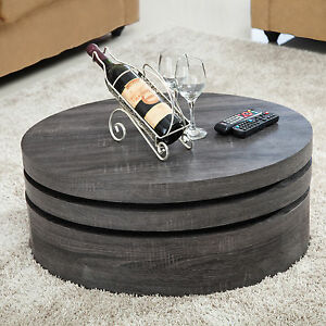 Image Is Loading Bn Wood Oak Round Rotating Coffee Table With
