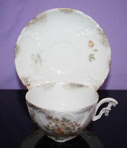 Vintage China Footed Demitasse Cup & Saucer ~ Floral w/ Gold Spray  Carl Tielsch