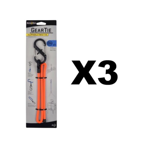 "3-Pack Nite Ize Gear Tie Clippable 24/"" Blaze Orange Rugged Twist Tie w// S-Biner"