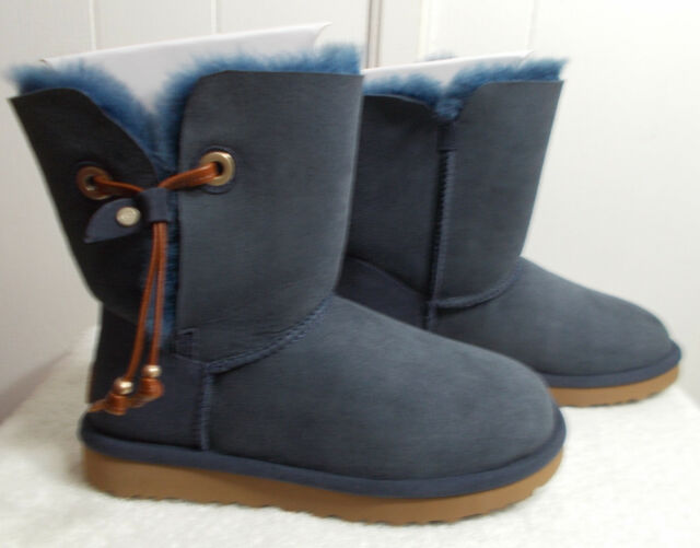 f54e52074f6 UGG Maia Navy Suede Shearling Drawstring Women`s Short BOOTS Size US 9