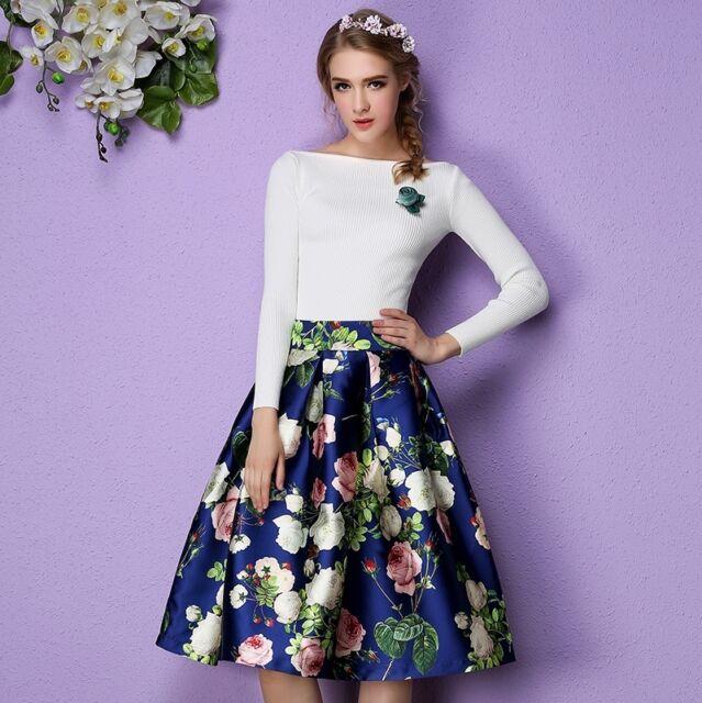 Vintage Hepburn Style Floral Print High Waist Ball Gown Midi Pleated ...