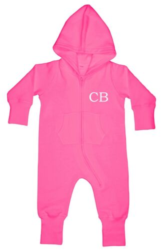 Personalised Baby Toddler Hooded All in One Romper Loungewear Initials