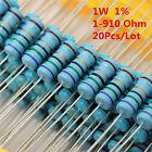 20Pcs 1W 1 Watt Metal Film Resistor ±1% 56 120 150 180 430 470 680 1-910 Ω Ohm