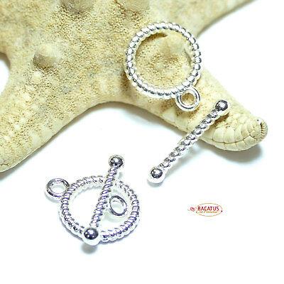 T-schließe Knebelverschluss Verschluss Metall, Silber 13mm 2 Stück Oder 10 Stück