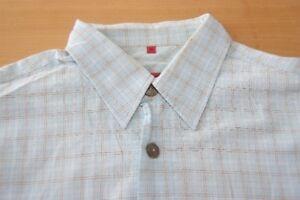 hot sales a8f13 692d4 Details zu Q303 Signum Hemd- Größe M - kariert blau weiß orange - Herren  Herrenhemd Kurzarm