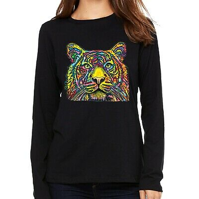 Velocitee Ladies Vest Colourful Psychedelic Neon Tiger A18488