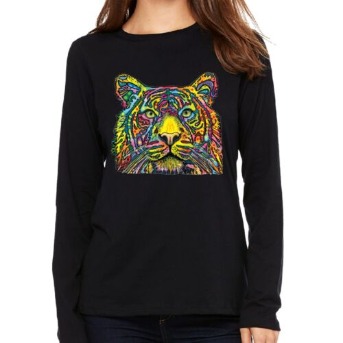 Velocitee Ladies Long Sleeve T-Shirt Colourful Tiger Psychedelic Neon A18488