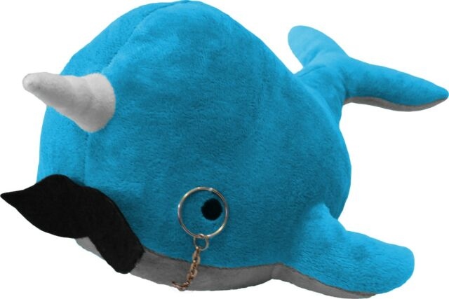 Kimler Cute Fancy Narwhal Plush With Mustache And Monocle Over A