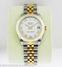 Rolex Datejust 31mm Stainless Steel 18k Gold White Roman Jubilee 178273 Ret:9700