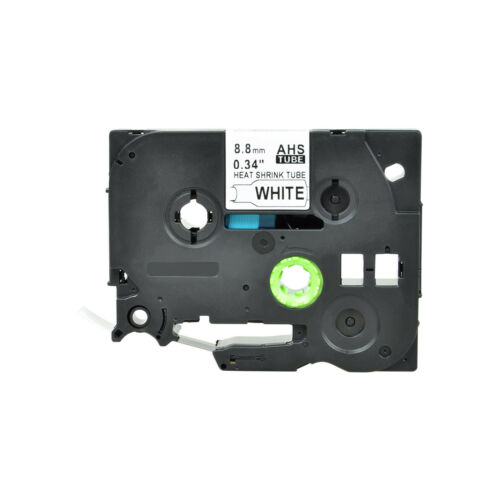 """8PK Heat Shrink Cartridge Label Black on White HSe221 For Brother P-Touch 3//8/"""""""