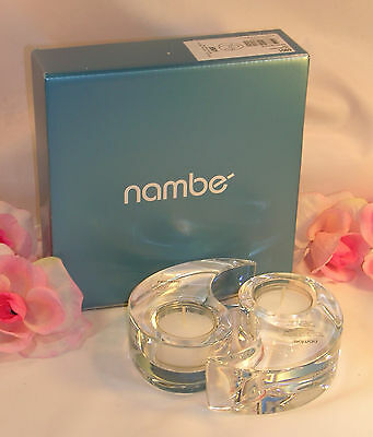 New Nambe Crystal Yin Yang Votive Candle Holders Pair Lead Crystal Paperweights