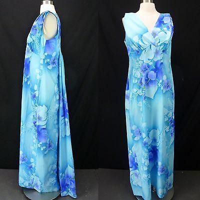 Vtg 70s Blue Hawaiian Floral Print Empire Beach Dress Polynesian Wedding 18 L