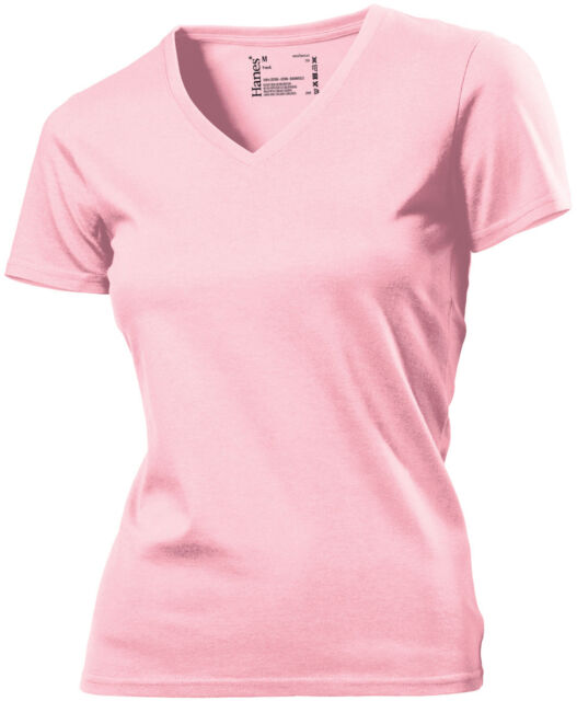 88616d8f2b00 Hanes Tagless Plain Cotton Womens Womans Girls Ladies V Vee-Neck Tee ...