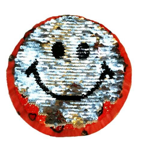 Unicorn Flip Sequin Motif Smiley Face Reverse Side Sew On Patch 17 cmx17 cm P423