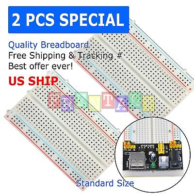 2X Mini 400 Points  Clear Prototype PCB Solderless Breadboard Protoboard
