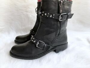 0bf8b405d Women s Sam Edelman  Adele  Black Leather Spikes Moto Boots Sz 8.5M ...