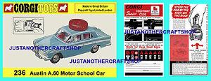 Corgi-Toys-236-Austin-A60-Motor-Escuela-prospecto-informativo-amp-Cartel-Anuncio-Cartel