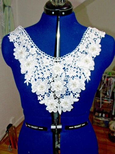 Cristal Blanco Apagado Perla Boda Nupcial yugo cuello bordado de encaje y apliques