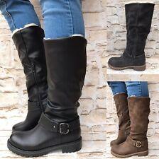Damen Stiefel warm gefüttert Boots Stiefeletten Winter Schnalle NEU ST818