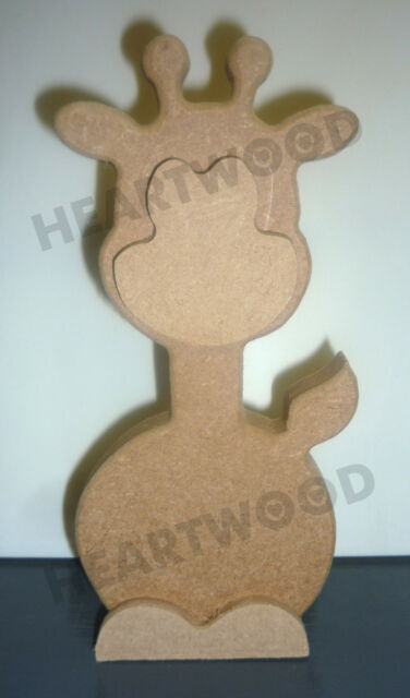 3D GIRAFFE SHAPE IN MDF (IN 3 PARTS)-180mm x 18mm/WOODEN BLANK CRAFT SHAPES