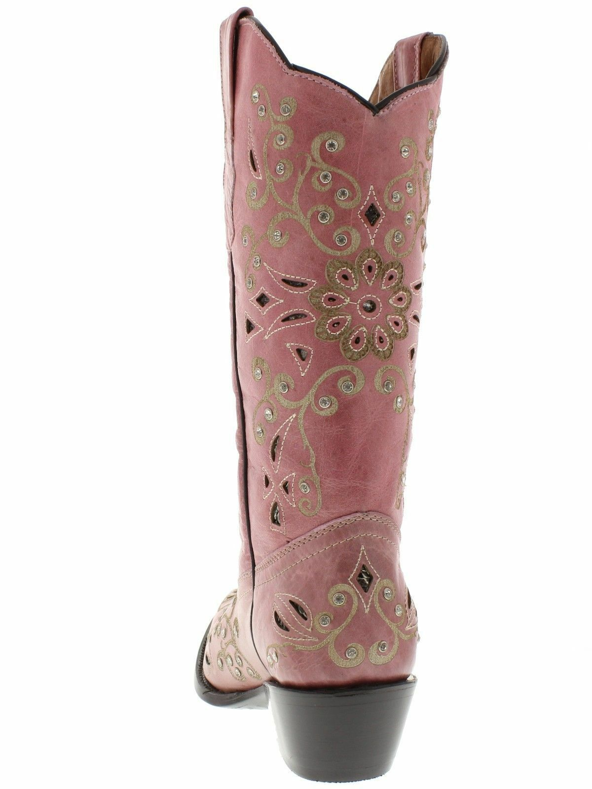 damen Rosa Snake Snake Snake Western Leather Cowgirl Stiefel Floral Rhinestone Snip Toe cac289