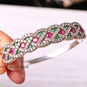 Turkish-Jewelry-Handmade-925-Sterling-Silver-Ruby-Emerald-Bracelet-Bangle-Cuff8